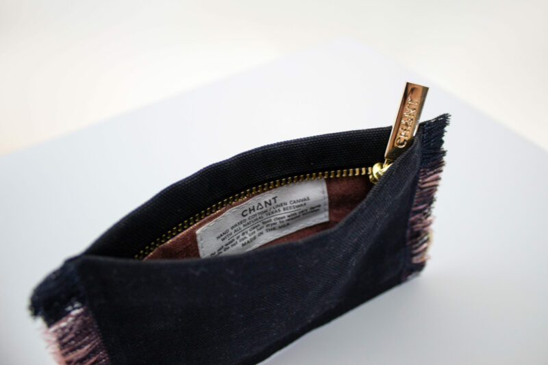 black rose gold zip pouch inside