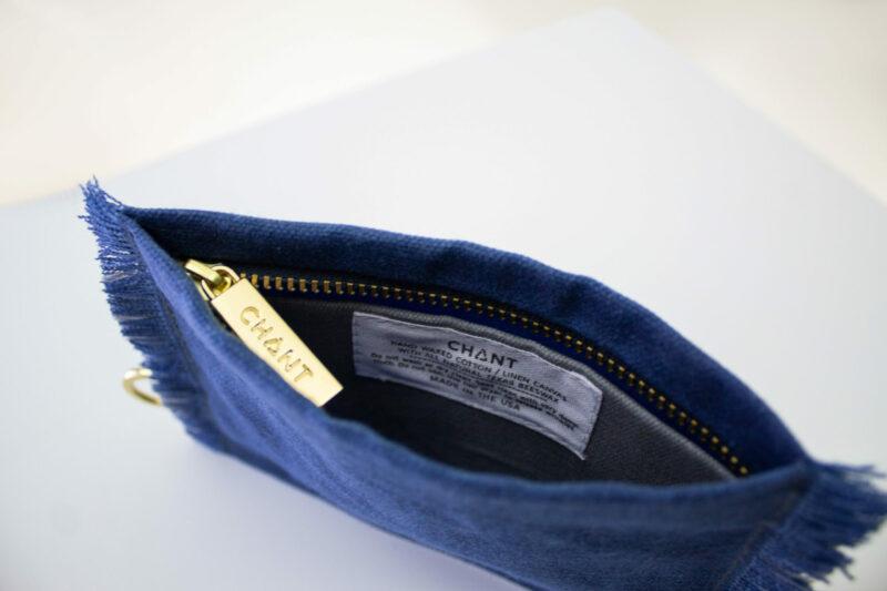 blue gray zip pouch inside