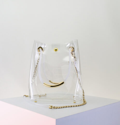 clear bucket bag front