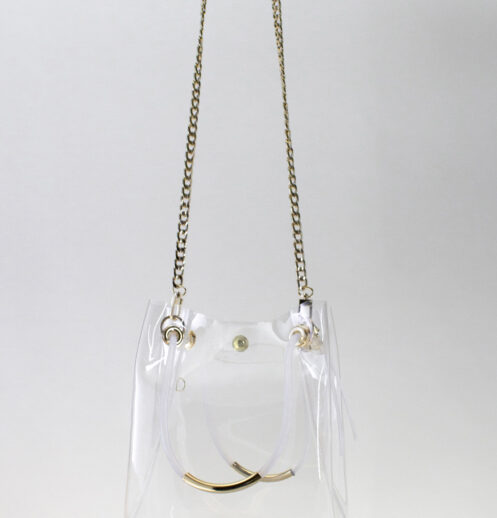 hanging clear bucket bag