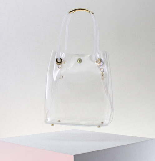 hanging clear bucket bag short straps