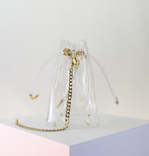 clear bucket bag side