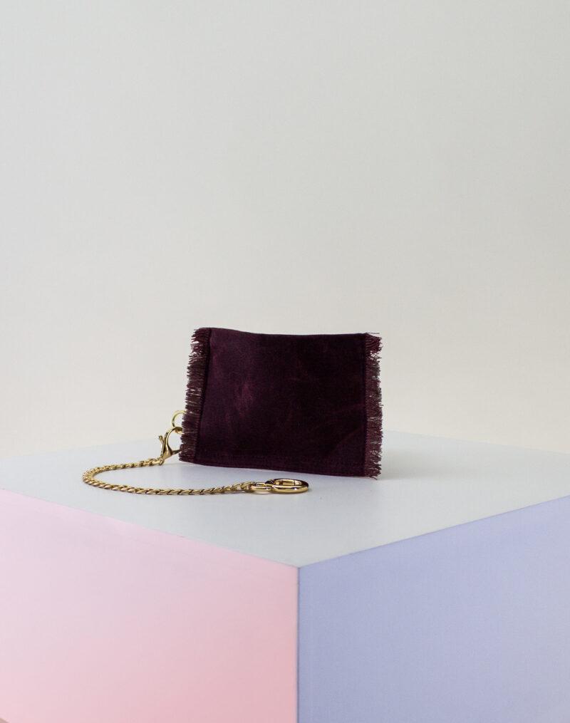 maroon tan zip pouch