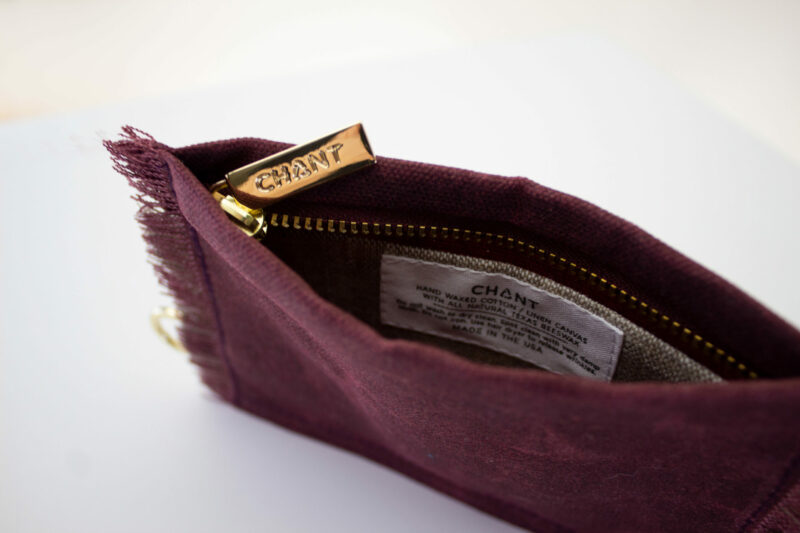 maroon tan zip pouch inside
