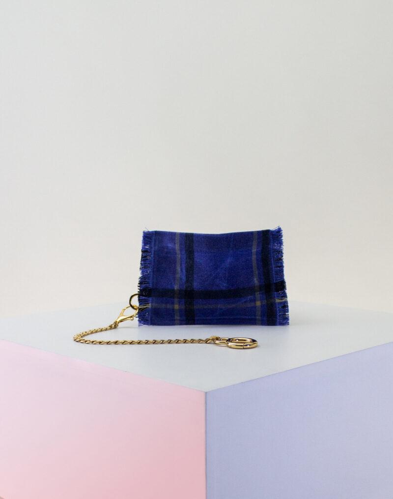 blue plaid black zip pouch