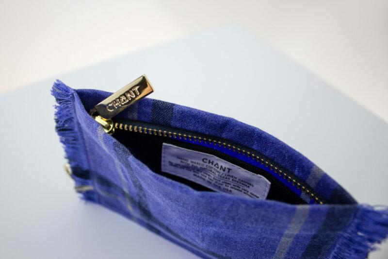 blue plaid black zip pouch inside