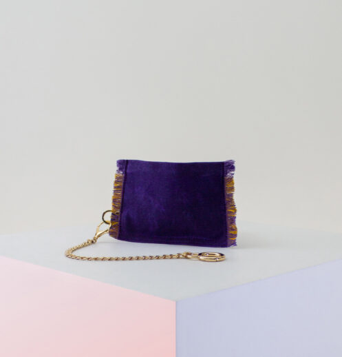purple yellow zip pouch