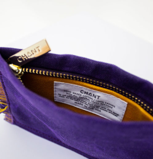 purple yellow zip pouch inside