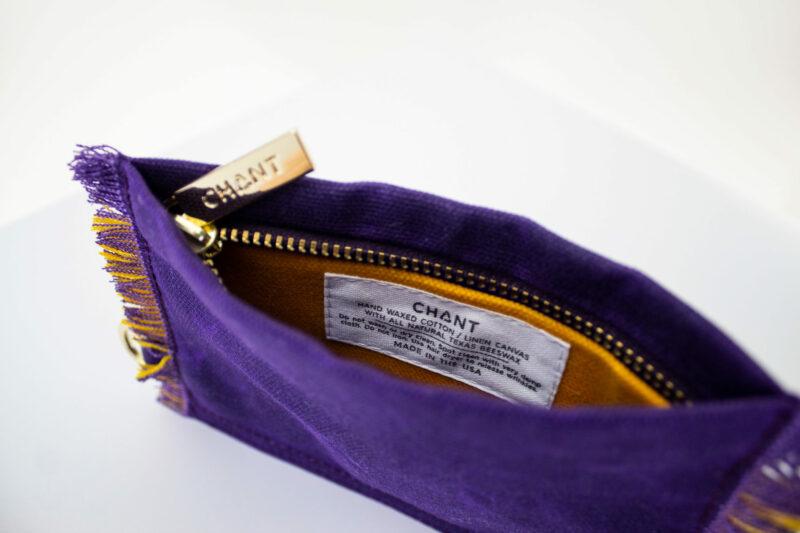 purple yellow zip pouch inside