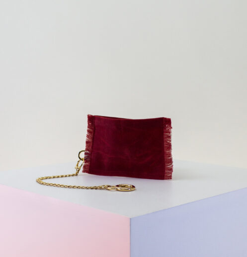 red cream zip pouch