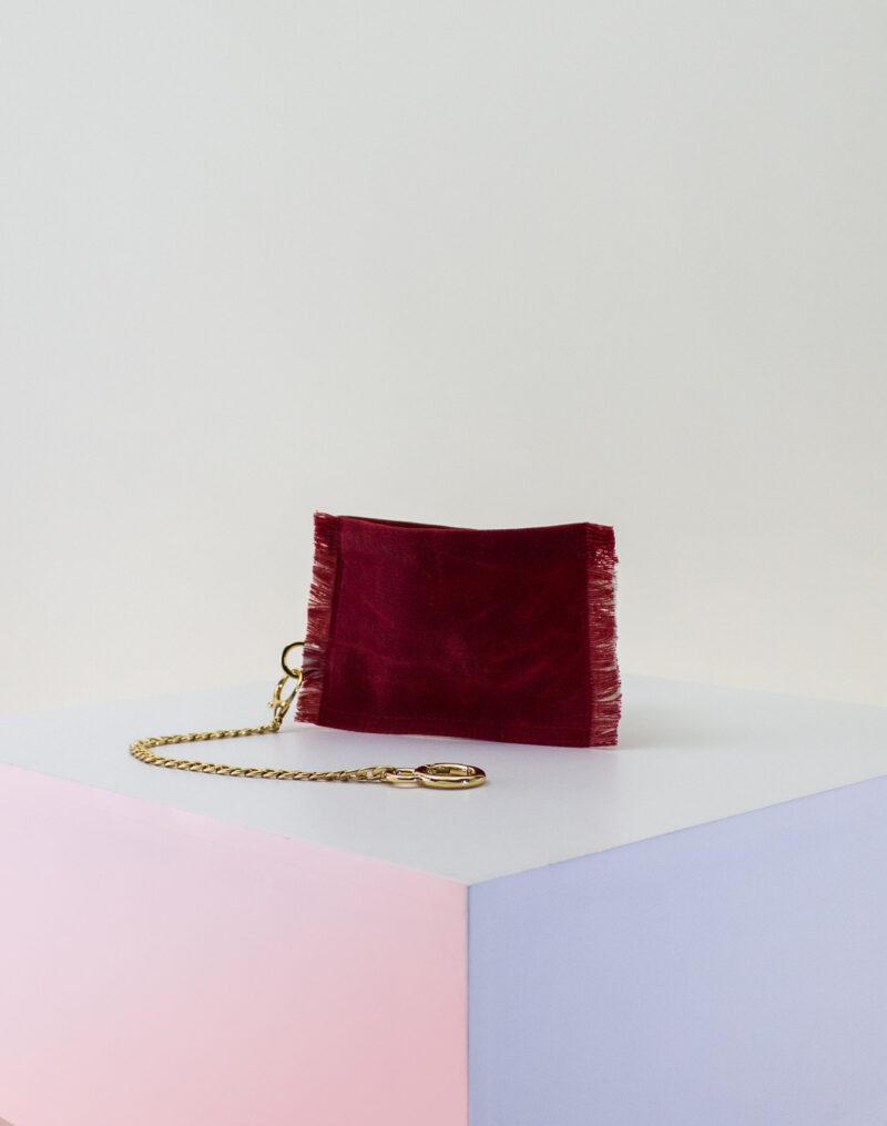 red cream zip pouch