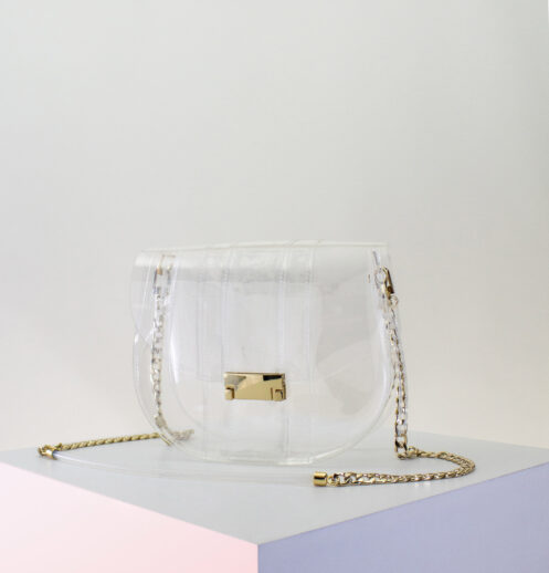 small clear crossbody saddle bag
