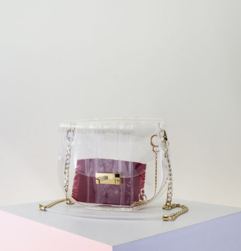 small clear bag with zip pouch
