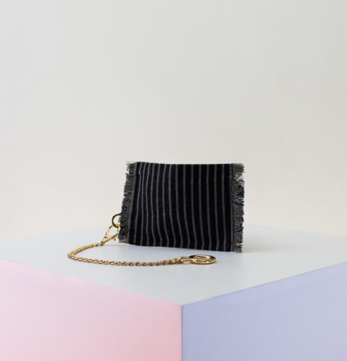 black gray stripe zip pouch