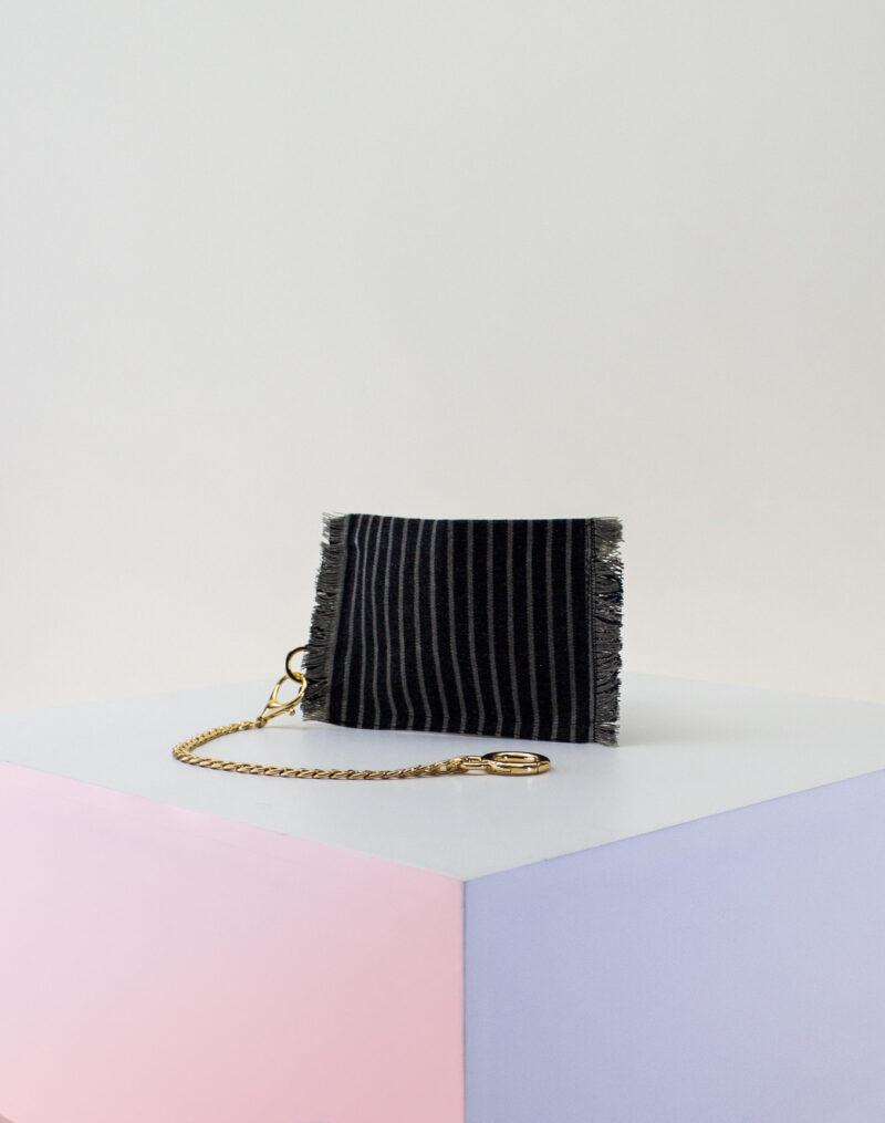 black gray stripe zip pouch