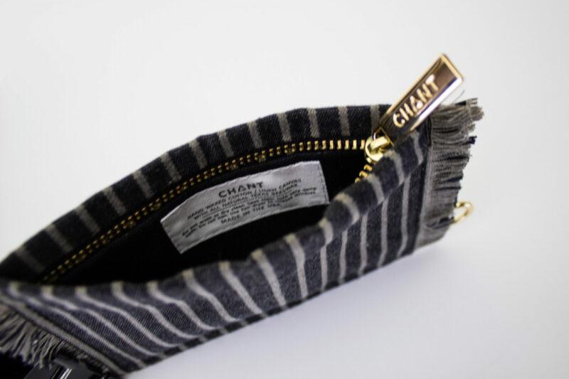 black gray stripe zip pouch inside