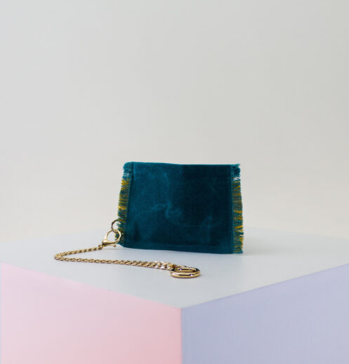 teal yellow zip pouch