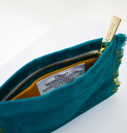 teal yellow zip pouch inside