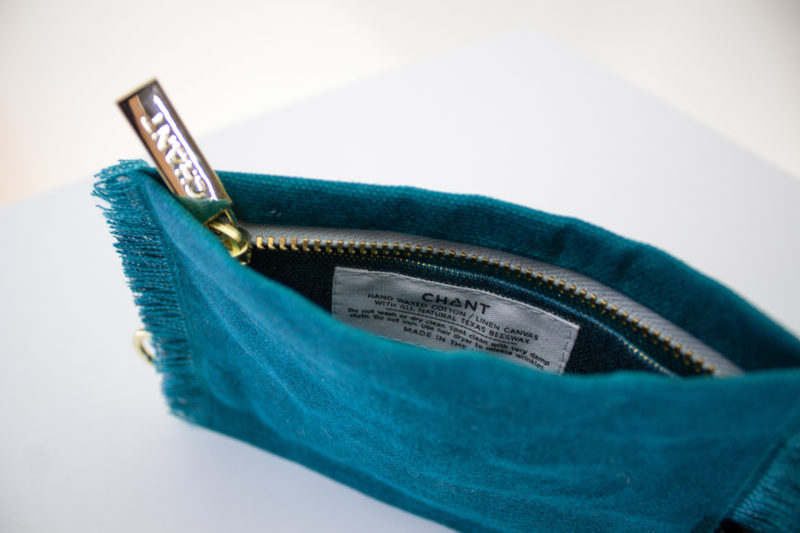 teal zip pouch inside