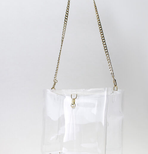 hanging boxy zipper clear bag front